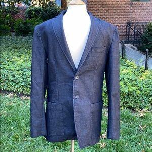 Zara Blue Denim Sartorial Blazer